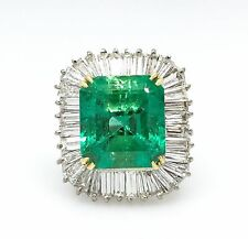 10 ct Colombian Emerald Diamond Ballerina Ring 18k White Gold Over 925 Silver Nw