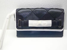 COACH F64639 Patchwork Blake Leather Clutch LG Wristlet SV/Blue Multicolor NWT