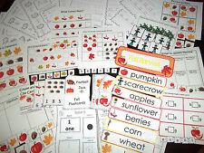 No Prep Fall themed Preschool Daycare Curriculum Set.  Worksheets, flashcards, g