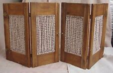 VINTAGE (2) SMALL FABRIC INSERT WOODEN BI-FOLD CABINET (4) PANEL DOORS OR SCREEN