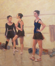 Tulsa Ballet Dancers at Rest Tulsa Ballet OK oil on canvas  by Margaret Aycock