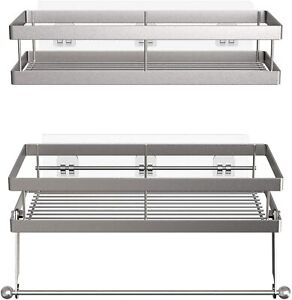 Vdomus No Drill Shower Caddy or Spice Rack with Towel Bar Stainless Steel