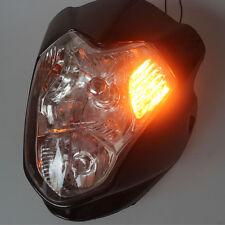 Black Motorcycle Street fighter Headlight w/Turn Signals for Suzuki Honda Yamaha
