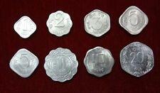 1 2 3 5 10 & 20 Paisa / Paise India Aluminium 8 Coins Set