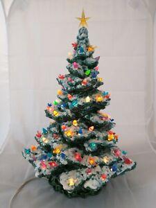 "Vintage 1989 Green Draped base 16"" Lighted Ceramic Snow Flocked Christmas tree"