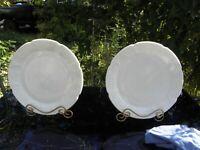 "2 Indiana Colony Milk Glass Opaque White Harvest Grape 14"" Torte Plates"