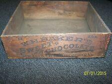 Antique / Primitive 1800's W.H.Baker's Sweet Chocolate Crate New York / Virginia