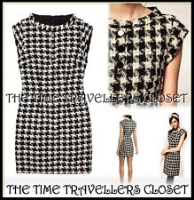 Fred Perry Amy Winehouse RARE Black White Houndstooth Weave Mini Dress UK 12 14
