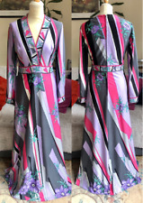Vintage 1970s purple pink Pucci-inspired maxi dress