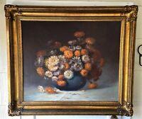 Large Vintage Gold Framed Original Oil On Canvas Floral Still Life Signed GREER