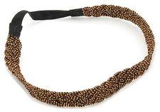 Zest Hilo Trenzado Diadema con brillantes Accesorio para el cabello marrón y dorado