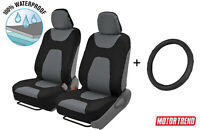 Steering Wheel Cover + Waterproof Car Seat Covers Set Standard Size Gray Color