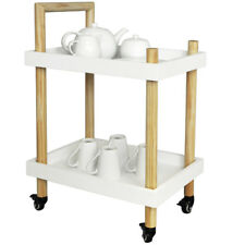 Wood Two Tier Trolley - Drinks / Tea / Crafts - White / Natural KI10017