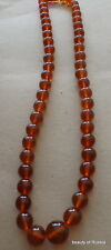 Antique Natural  cognac  Baltic Amber Round  Beads Necklace 70 grams     #53cog