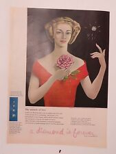 Original Print Ad 1956 De Beer Diamond Message of Love Pierre Artwork