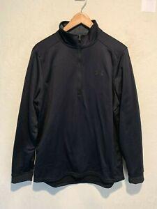 Under Armour Men's Quarter Zip Running Jacket Size MEDIUM Black Cold Gear EUC
