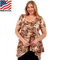 Plus Size Animal Print Asymmentric Ruched Top blouse 1X 2X 3X 4X 5X 6X