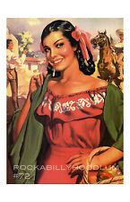 Pin Up Girl Poster 11x17 mexican beautiful señorita Latina cowboys western