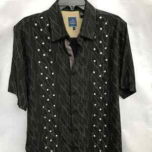 NAT NAST SILK Embroidered Black Short Sleeve Sz M Classic Hipster