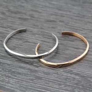 Women Men 18K White / Rose Gold Filled Solid 4mm Plain Bangle Bracelet Stunning