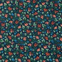 Calico Cotton Fabric, Peach, Blue, & Green Packed Little Flowers, Per 1/2 Yd