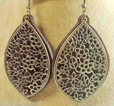 "Egyptian Dangle Earrings Wood & Metal HandMade Gypsy Tribal  Jewelry 3.5""  (110)"