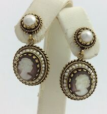 14K YELLOW GOLD CAMEO PEARL ANTIQUE VINTAGE DANGLE EARRINGS