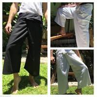 Men's Thai Fisherman Pants 100% Cotton, Hippie Yoga Pants One-Size Black & White