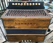 Vintage Lombardi Button Box Accordion German Hohner Steel Reeds 4 Bass Key C