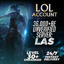 League of Legends Account LAS LOL Smurf 36000 BE IP Unranked Level 30 PC