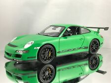Welly NEX Porsche 911 (997) GT3 RS Diecast Model Car Green with Black Rims 1:18
