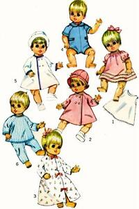 Vintage Doll Clothes PATTERN 7931 for 12 in Betsy Wetsy Ginny Baby by Ideal