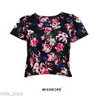 NEW Floral Crop Top Navy Pink Ladies Womens Boho Chic New Size 8 10 12 UK P&P