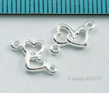 6x STERINGL SILVER DOUBLE HEART LINK CONNECTOR SPACER BEADS 8.5mm 7.1mm #798