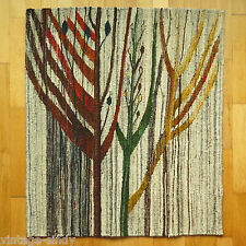 """Vintage Polish HANDWOVEN WOOL KILIM """"BRANCHES"""" 102x87 cm 