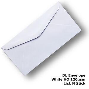 100 Envelopes DL Size HQ 120gsm White Lick N Stick 110x120mm Banker Shape #E22AP
