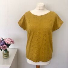 White Stuff Mustard / Yellow / Ochre Broderie Anglaise Cap Sleeve Top size 10 R5