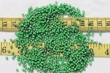 10/0 French Glass White Heart Sioux Green Seed Beads Craft Jewelry Making  1oz