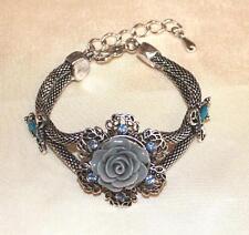 tolles Armband silberfarben blauer Strass Rose Schlangenkette NEU
