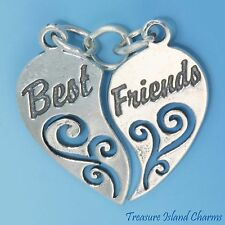 Best Friends Two-Piece Heart To Share .925 Solid Sterling Silver Charm USA MADE