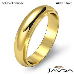Men Wedding Solid Band Dome Step Down Ring 5mm 18k Yellow Gold 6.9gm Size 8-8.75