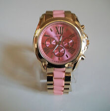 Chunky Designer Inspired Gold/Peach Finish Chrono Style Bracelet Boyfriend Watch