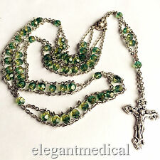 LADDER ROSE ROSARY CROSS Green Crystal Beads crucifix catholic necklace