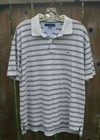 Tommy Hilfiger Mens Golf Shirt Tan with Black Stripes XL X Large