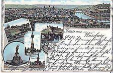 L 17 - Litho,Gruß aus Würzburg Totale Mehrbild, 1896 gelaufen