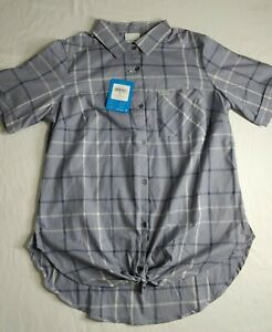 Columbia Women's Anytime Stretch Short Sleeve Cuffed Tie Front Shirt Medium