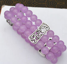 HOT 3 Row Women's Natural 8mm Purple gem Beads Stretch Tibetan silver Bracelet