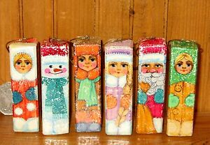 Christmas Tree Decorations Russian set 6 Unique SANTA SNOW MAN MAIDEN Ornaments