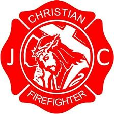 """CHRISTIAN FIREFIGHTER OCCUPATION Vinyl Decal Sticker-8"""" Tall White Color"""