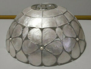 Retro Capiz Shell Ceiling Pendant Lamp Shade - silver in colour - FAB LOOKING